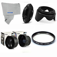 WIDE ANGLE MACRO +2X TELEPHOTO+UV FILTER +HOOD+ CAP FOR SONY ALPHA A33 A35 A37