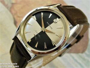 1960's Vintage WITTNAUER Automatic, Stunning Silver & Black Dial, Serviced