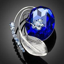 Platinum Plated Leaf Blue Made With Swarovski Crystal Flower Pin Brooch B658-32