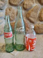 Vintage Lot of 3 Coca Cola clear glass bottles 1 pint 10 OZ, 16 OZ, & 12 OZ
