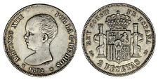 2 SILVER PESETAS / 2 PESETAS PLATA. ALFONSO XIII. 1892*. VF+/MBC+. INTERESANTE.