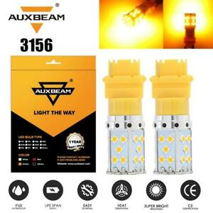 AUXBEAM 3156 LED Back Up Brake Turn Signal Lights yellow for Ford Chevy Nissan