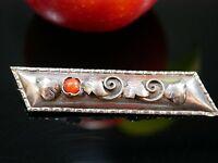 Wunderbare Silber Brosche Stabbrosche Jugendstil Art Deco Rot Koralle Vintage