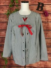 CJ Banks Blazer Jacket Plus size 1X Black White Striped Grommets Red Ribbon Tie