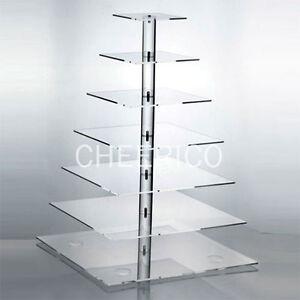 7 Tier Square Pole Acrylic Cupcake Stand Cup Cake Tower Tree Cupcake Display