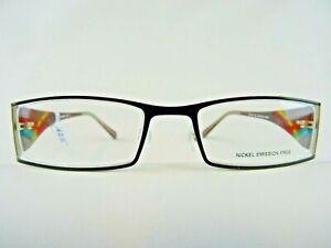 Schwarze nickelfreie Brillenfassung Damen/Herren mit breiten bunten Bügeln Gr. S