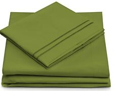 King Size Sheet Set Microfiber Hypoallergenic 4 piece - Dark Green - 1500