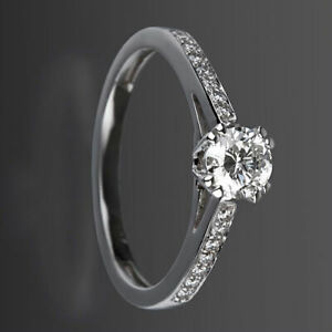 ROUND CUT DIAMOND RING SOLITAIRE ACCENTED WOMEN 1.23 CARATS VVS 18K WHITE GOLD