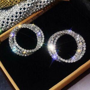Gorgeous 925 Silver Crystal Circle Earrings Stud Drop Dangle Women Jewellery Hot