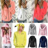 Womens Hooded Long Sleeve Hoodies Sweatshirt Jumper Sweater Coat Pullover Jacket