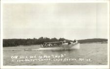 Cape Rosier ME Boating on Lucy B Hiram Blake's Camps Real Photo Postcard