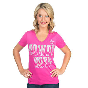 Dallas Cowboys NFL Women's Pink Howdy Boys Tee, Medium