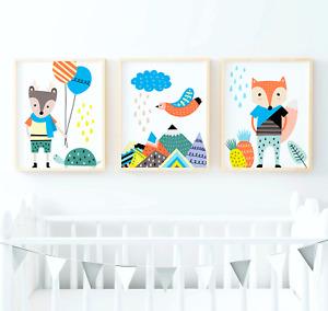 Scandinavian Woodland Animal Prints Wall Art for Scandinavian Nursery/Kids Room