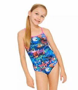 """Zoggs Girls Saber Starback Ecolast Swimsuit UK 32"""" Vibrant Multi Colours Summer"""