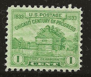 US Scott #728, Single 1933 Fort Dearborn 1c FVF MNH