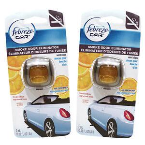 Febreze Car Vent Clips Air Freshener and Smoke Odor Eliminator, Fresh Citrus-2PK