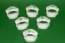 6 Vecchio Anelli Porta Tovaglioli Porcellana Posate Verde Viticcio