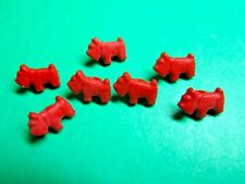 """(7) 1/2"""" SCOTTIE PUPPY DOG RED PLASTIC SHANK CRAFT EMBELLISHMENT BUTTONS (O1)"""