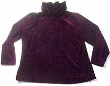 Coldwater Creek Velvet Cowl Neck Blouse Shirt PL Petite Large Wine Textured