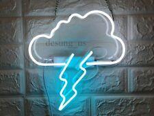 "New Cloud Thunder Neon Light Sign 14"" Lamp Beer Bar Acrylic Real Glass Handmade"