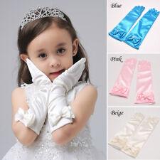 Kids Flower Girls Princess Wedding Formal Party Gloves Satin Dress Up Gloves Hot