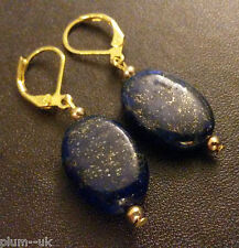T11 Blue Lapis Lazuli drop dangle earrings, gold plated hoops BOXED Plum UK