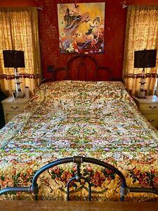Vintage Tapestry Italian Velvet Chenille Floral Bedspread Queen Full Boho