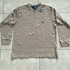 NWT Covington Men's Long Sleeve V-Neck Sueded Cotton Shirt Light Brown Size XL