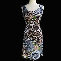 JOSEPH RIBKOFF Women's Size 6 Animal Prints Floral Sleeveless Stretchy Dress