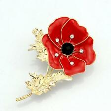 New Red  Remembrance Poppy Brooch Pin Badge Gold Diamante Flower Gift UK STOCK