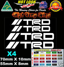 TRD TOYOTA HIGH TEMP BRAKE CALIPER Stickers Decals X4 to suit JDM brembo brakes