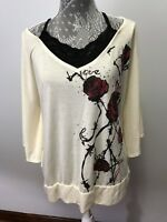 One Step Up Women Blouse with Roses  size 3X