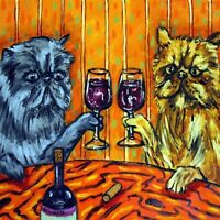PERSIAN cat at the WINE Bar art Tile Coaster gift