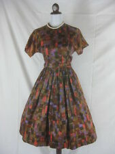 Vtg 50s 60s Parkshire Multi Color Wild Vintage Full Skirt Party Dress W 26