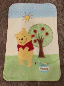 "Disney Winnie the Pooh Baby Blanket Green Brown Tree Hunny Sun Luxe 30"" x 45"""