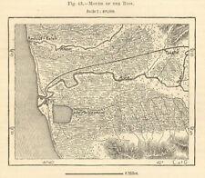 Rion estuary & port of Poti, Georgia. Lake Paliastomi. Sketch map 1885 old