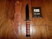 U.S MILITARY MARINE CORPS KA-BAR KNIFE & LEATHER SHEATH KABAR USMC COMBAT KNIFE
