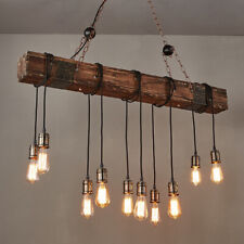 Hanging Wood Beam Large Linear Island Kitchen Pendant Light with 10 Lights