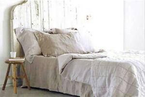 100% Leinen Bettlaken 220x240 cm Natur Beige  Neu