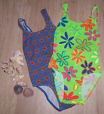 2 Stück Mädchen Badeanzug Zwillinge blau orange Blumen Pique Stoff Gr.116 NEU