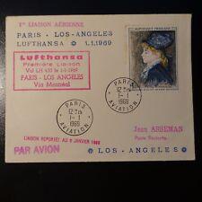 AVIACIÓN LETRA COVER PREMIER VUELO PARIS LOS ANGELES ESTADOS UNIDOS 1969
