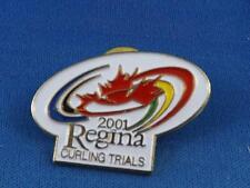 2001 REGINA CANADA REGIONAL CURLING TRIALS PIN BACK CURLER COLLECTOR BUTTON