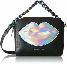 Kendall + Kylie Lucy Lips Bag Small Leather Crossbody Black/Iridescent