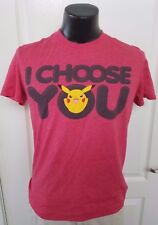 I Choose You Pikachu Pokemon Heather Red T Shirt Medium Anime New