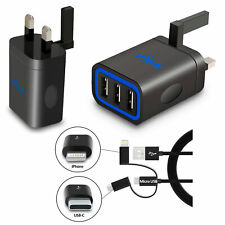 Multi Port Mains Wall Charger For Smartphone Tablet Smart IC Output 15.5W 5V NEW