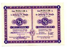 Nazi Germany Klassenlotterie Post-Anschluss Austria Ostmark 1938 Wien 3