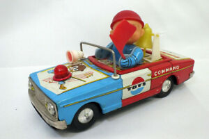 Vintage Police Command Car ME804 Battery Operated Tin Toy Untested