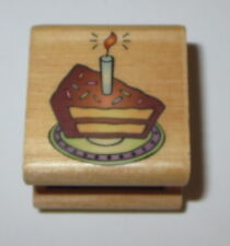 Birthday Cake Rubber Stamp Slice Candle On Plate Wood Mounted