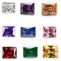 50pcs 2x3~13x18mm White cz stone AAAAA Rectangle loose Cubic Zirconia 4 Colors