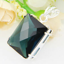 Artistic Square Fire London Blue Topaz Gems 925 Sterling Silver Plated Pendants